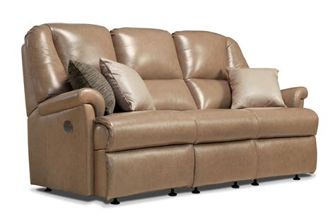 small leather settee milburn small leather reclining 3 seater settee