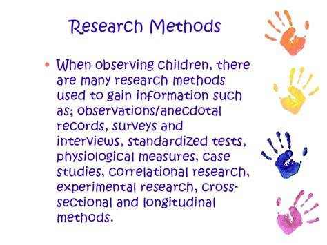 cross sectional correlational study observing children and writing anecdotal records