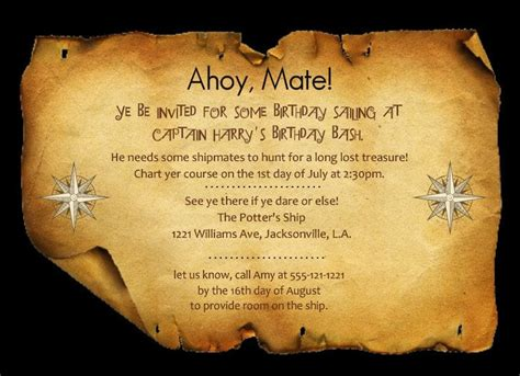 Pirate Map Invitation Template Pirate Treasure Map Invitation Template