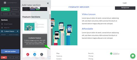 feature section powerful website builder section designs learnyst insights