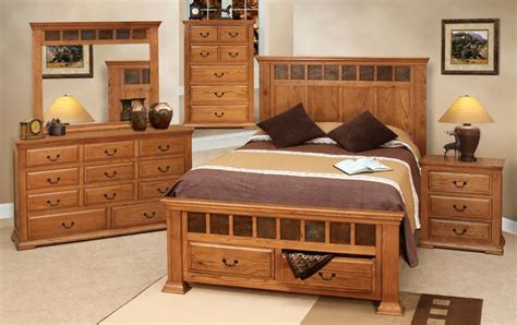 Handcrafted Wood Bedroom Furniture - rustic bedroom furniture set rustic oak bedroom set oak