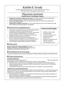 Curriculum Vitae Pharmacist by Physician Assistant Resume Examples Resume Sample