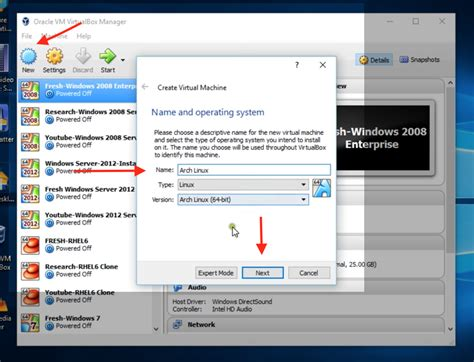 tutorial oracle vm virtualbox manager how to install arch linux on virtualbox