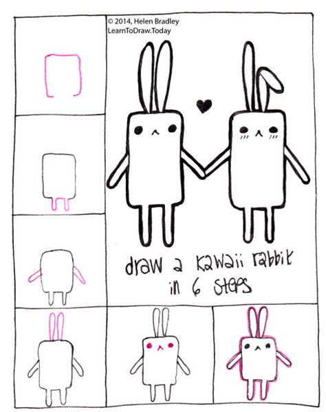 how to draw a doodle bunny easy kawaii drawings step by step