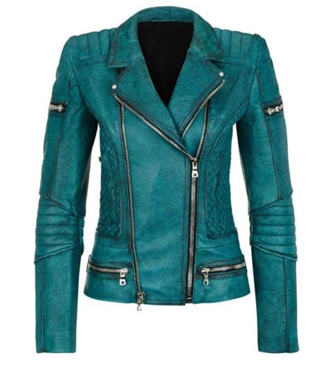 Jaket Kulit Leather Black Bikers Sk 19 slim fit quilted moto teal leather jacket all sizes available ebay