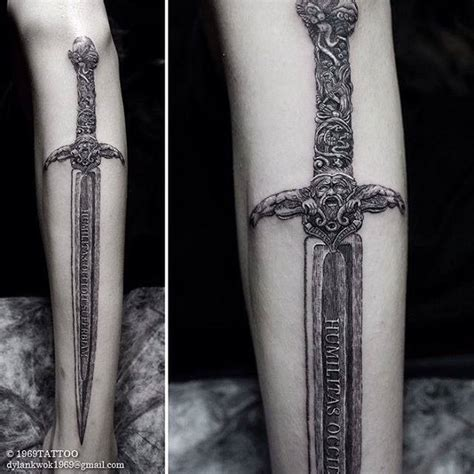 authentic sword tattoo on leg best tattoo ideas gallery