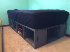 Wooden Crate Bed Frame Bed Frame Made Out Of Wooden Crates Wooden Crates Diy Bedroom Wooden Crates