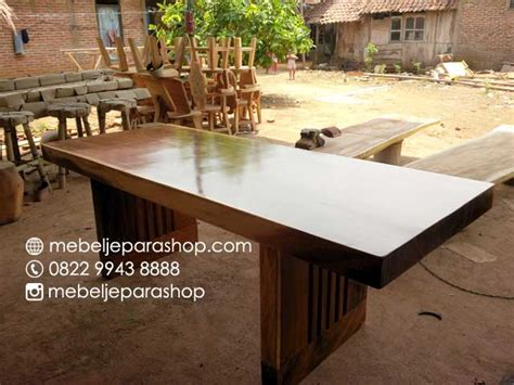 Meja Kayu Solid Trembesi meja kayu solid trembesi mjs furniture