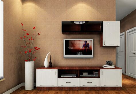 home tv wall design with walnut tv cabinet