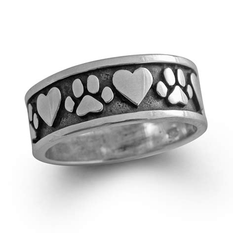 paw ring paw print band wide silver