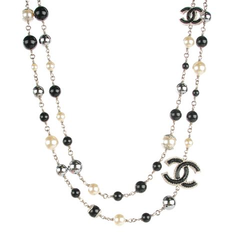 chanel beaded necklace chanel pearl beaded cc necklace black 124538