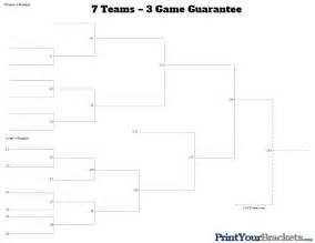 7 team 3 game guarantee tournament bracket printable
