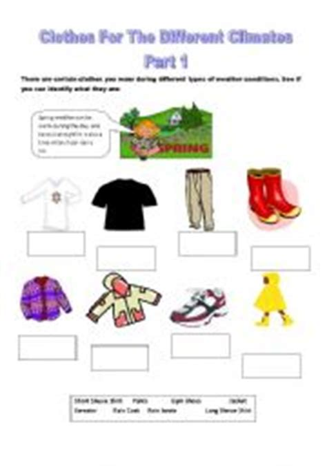 clothes for different seasons worksheet english worksheets clothes for the different climates part 1