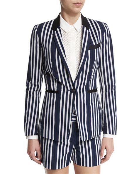 Jacquard Ruffle Blazer oscar de la renta watercolor plaid jacquard jacket