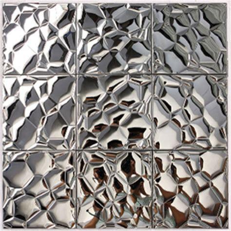 Kitchen Tile Backsplash Designs Metallic Mosaic Tile Silver Stainless Steel Tile Patterns