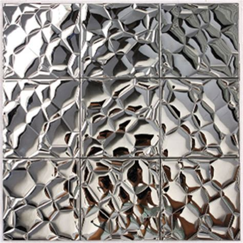 Stainless Steel Kitchen Backsplash Tiles metallic mosaic tile silver stainless steel tile patterns