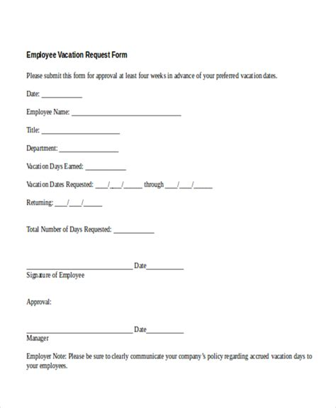 employee vacation request form template employee time request form template zoro blaszczak co