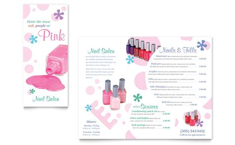 Nail Salon Brochure Template Word Publisher Nail Brochure Templates Free