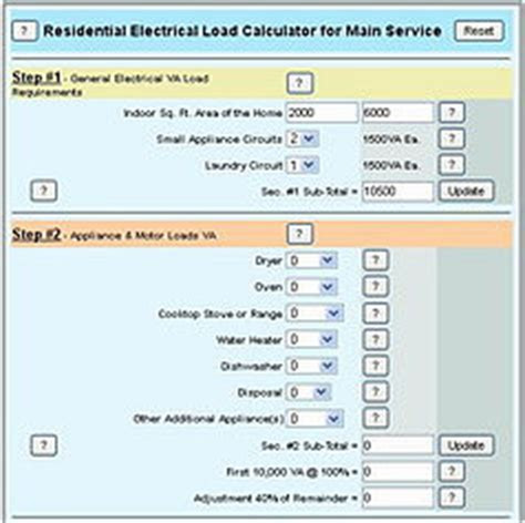 electrical load calculations for residential panel