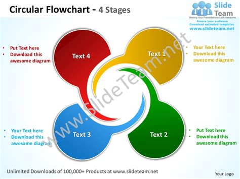 Circular Flowchart 4 Stages Powerpoint Templates 0712 Free Smartart For Powerpoint