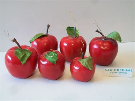 vintage red apple christmas ornaments taiwan lot of 6