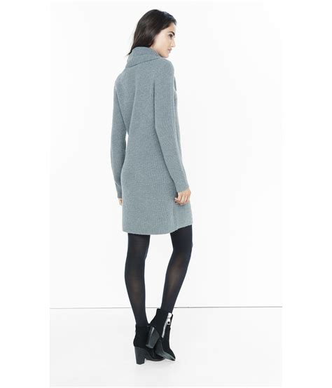 grey cable knit sweater dress express gray cowl neck cable knit sweater dress in gray lyst