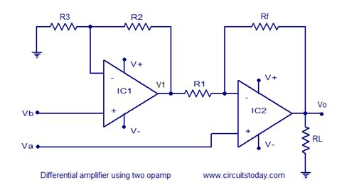 differential op resistor values differential lifier using op circuit diagram world