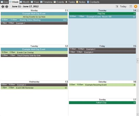 layout grid mode vueminder pro and ultimate help week view