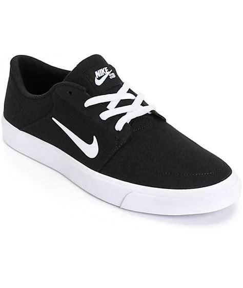 nike sb portmore black white skate shoes zumiez