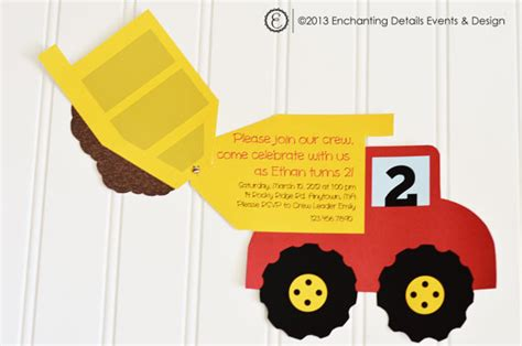 truck invitation template items similar to instant dump truck printable