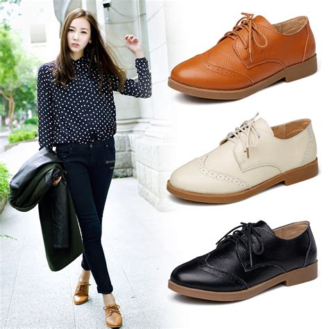 oxford shoes fashion beige black new 2015 cowhide casual flat shoes genuine