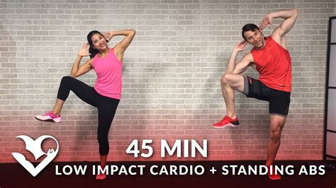 45 min standing abs low impact cardio workout for beginners home ab beginner workout