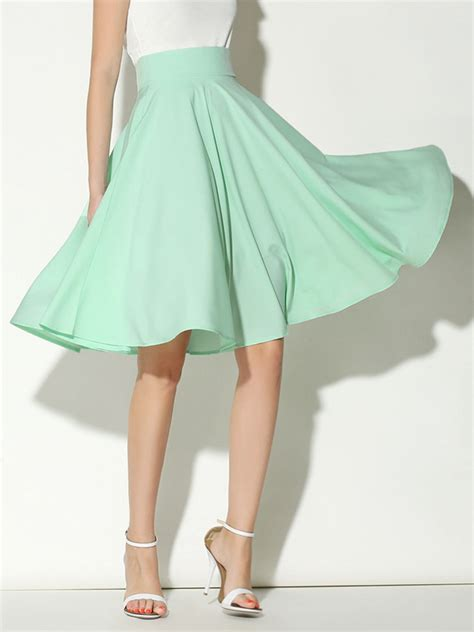light green high waist midi skater skirt choies