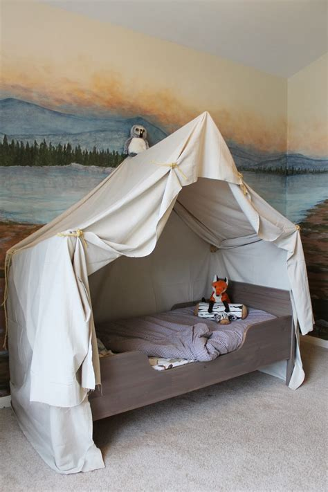 tent over bed remodelaholic cing tent bed in a kid s woodland bedroom