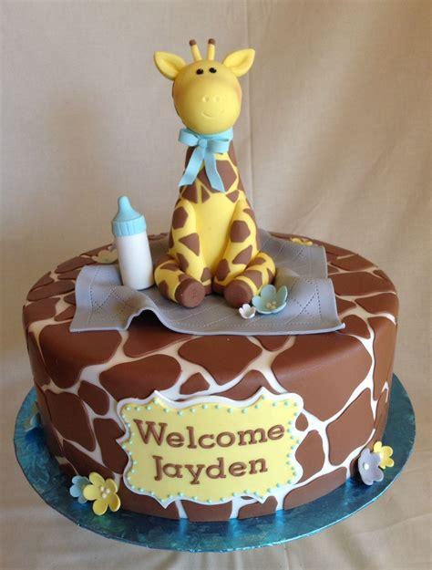 Baby Giraffe Baby Shower by Baby Shower Cake Fondant Giraffe Print Custom Topper
