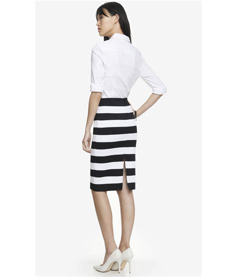 express high waist elastic stripe midi pencil skirt in