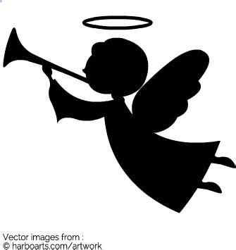 designing silhouettes of angels demo download angel with trumpet silhouette vector graphic