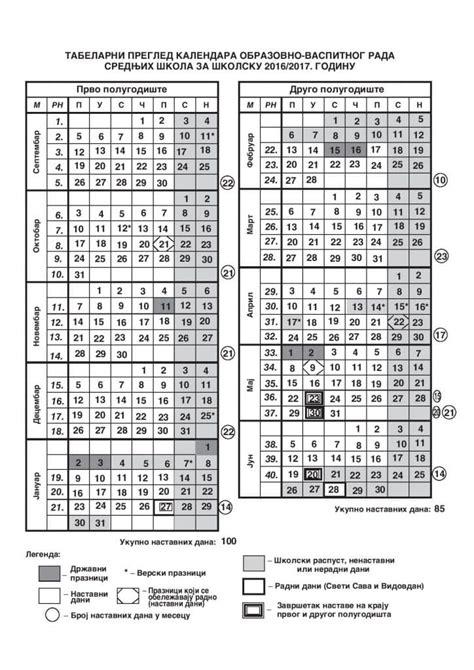 školski kalendar za srednje škole centralne srbije 2016 2017