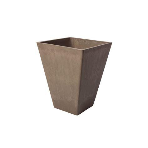 algreen valencia 11 1 2 in square taupe polystone planter