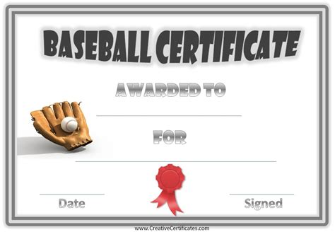 baseball certificate template free baseball certificate awards customize