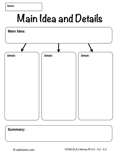 Idea And Details Summary Frames by Graphic Organizer Idea And Details Plain Education Graphic