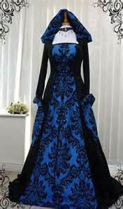 Blue and black gothic whitby medieval wedding dress hooded renaissance