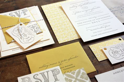 Wedding Invitations Yellow Paper by S Yellow And Gray Patterned Letterpress