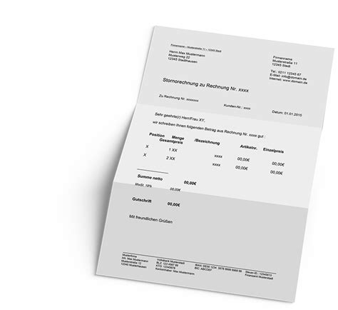 Musterschreiben Rechnungskorrektur Stornorechnung One