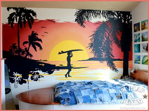 how to paint a sunset on a bedroom wall surfing sunset wall mural home and garden