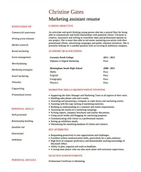 entry level assistant resume sles modern marketing resumes 32 free word pdf documents