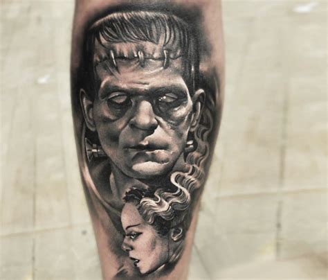 frankenstein tattoo grey ink 3d frankenstein with design for