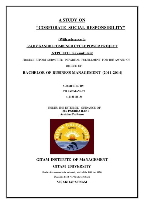 Mba Project On Csr by Project On Corporate Social Responsibility