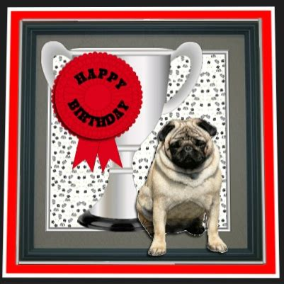 pug trophy pug trophy and rosette 8x8 card cup522032 15 craftsuprint