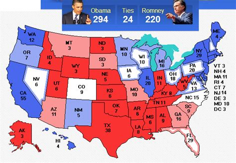 map of us states electoral votes 2012 electoral map predictions 11 6 election day